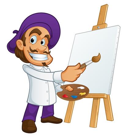 交感神経の画家、彼は取ってブラシ ・ パレット  イラスト・ベクター素材