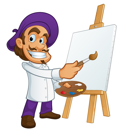 pintor: Pintor simp�tico, �l est� tomando un pincel y una paleta