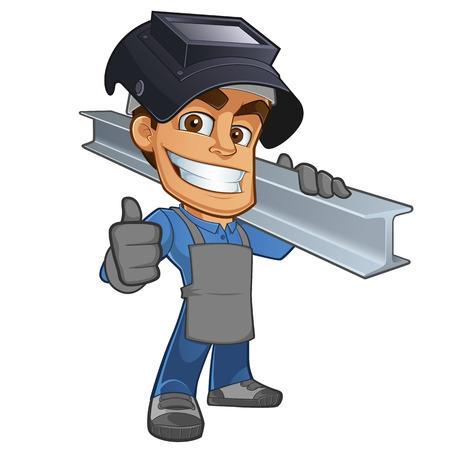 soldadura: herrero o soldador amistoso, vistiendo una viga