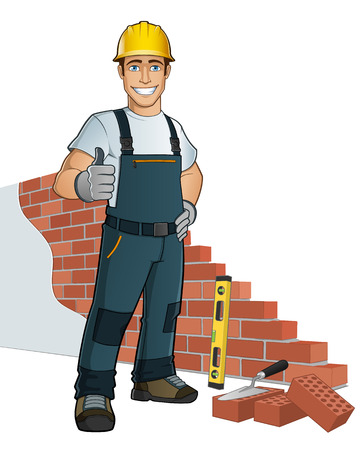 worker cartoon: Man building wall, with diferent tools Illustration