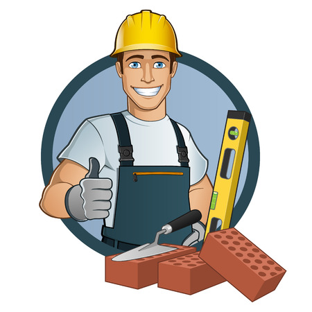 builder: Man with different tools Illustration