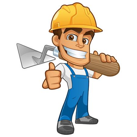 albañil: Albañil simpático vestido con ropa de trabajo, que lleva un casco y llana