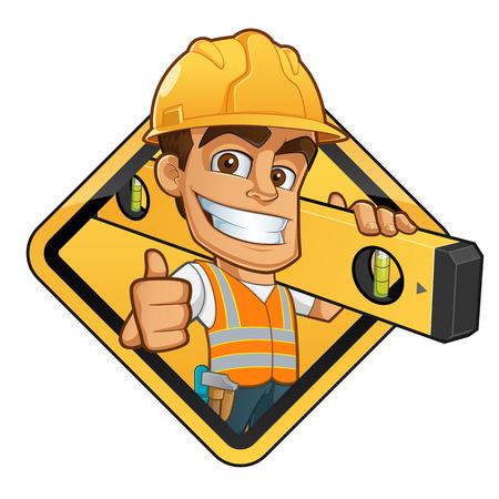 Przyjazny budowniczy z kask, przeprowadzanie bańki poziomu i pas z narzędziami