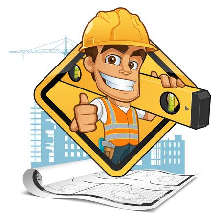 Constructeur bienvenus avec un casque, portant un niveau à bulle et une ceinture avec des outils Banque d'images - 44065067
