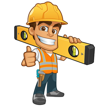 construction worker cartoon: Friendly builder with helmet, carrying a level bubble and a belt with tools