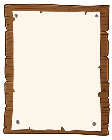 bulletin: Wooden bulletin board with paper for writing text
