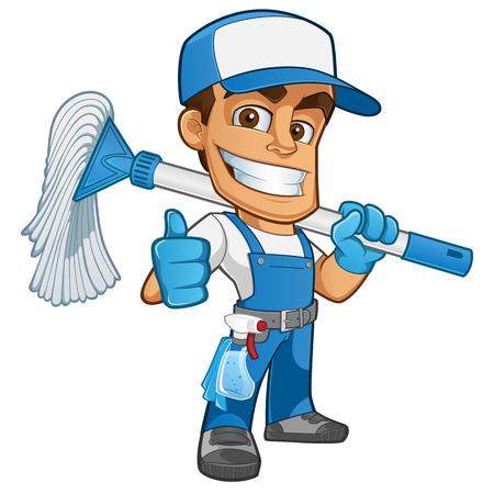personal de limpieza: Limpiador friendly vestido con ropa de trabajo, tiene una fregona Vectores