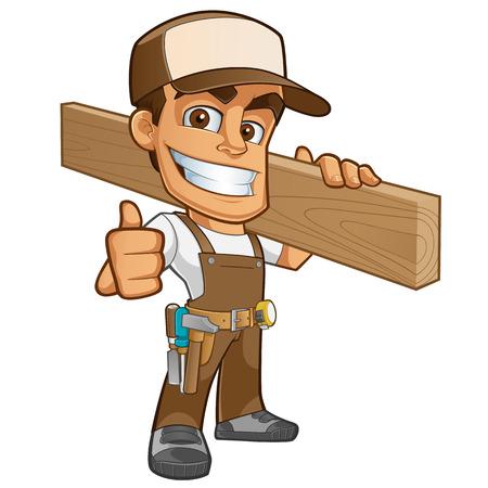 carpintero: Carpintero friendly, está vestido con ropa de trabajo y llevando una madera Vectores
