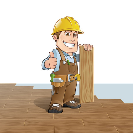 construction worker cartoon: Carpenter installing wood flooring Illustration