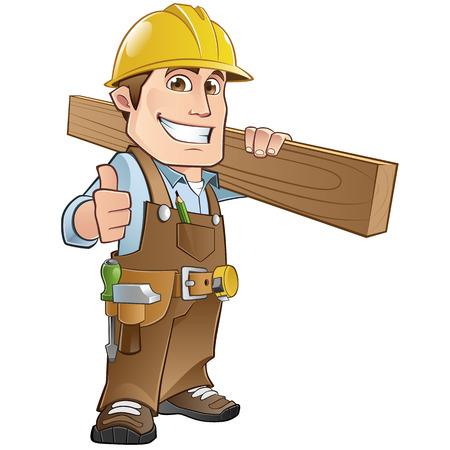 Timmerman gekleed in werkkleding, met een houten plank Stock Illustratie
