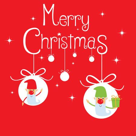 gnomos: Tarjeta de felicitaci�n de la Navidad, la tarjeta tiene la frase Feliz Navidad y dos gnomos Vectores