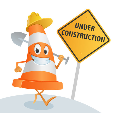 under construction road sign: Sympathetic cone with a spade in his hand, and a sign under construction