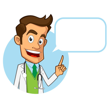 Sympathetic doctor, he is explaining something, you have a site where you can put your text