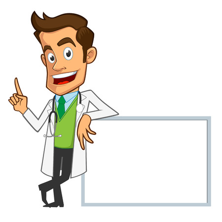 doctor vector: Sympathetic doctor, he is explaining something, you have a site where you can put your text