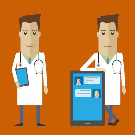 Doctor online, online medical consultation 矢量图像