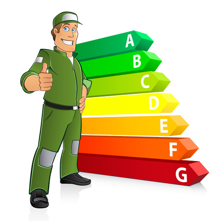 energetics: Energy Efficiency Chart with a cartoon man