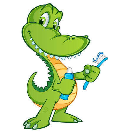 Sympathetic crocodile, has a toothbrush and a tube of toothpaste Stock Illustratie