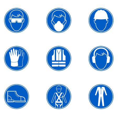 se�ales de seguridad: Seis se�ales de seguridad y protecci�n en el trabajo Vectores