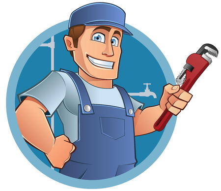 work clothes: Friendly plumber, he is dressed in work clothes and carrying a tool