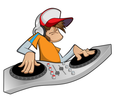 dj turntable: Illustration of a disc jockey, he is playing music