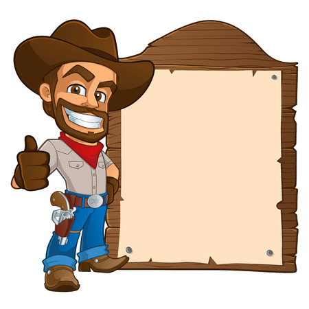 sympathetic cowboy hat, wears boots and a gun. You have a space to put your text Stock Illustratie