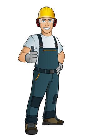 trabajadores: Hombre vestido con ropa de trabajo, el hombre toma diferentes elementos de protección