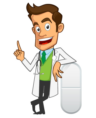 Sympathetic doctor, he is explaining something about medicines  イラスト・ベクター素材