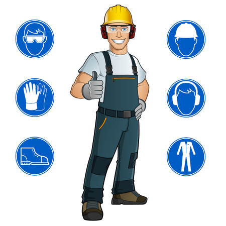 Man dressed in work clothes, and safety at work signs Vectores