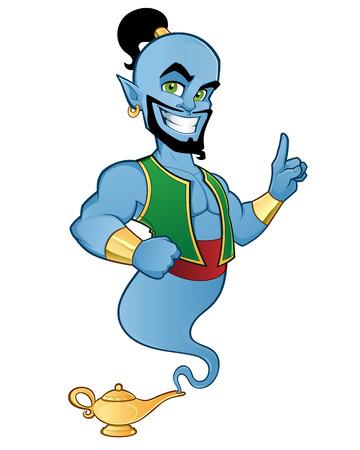 Illustration of a friendly genie Stock Illustratie