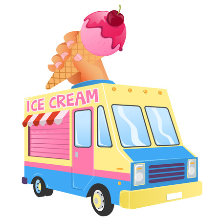 Ice cream truck, carrying a hand that is taking an ice cream