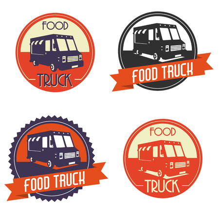food illustrations: Different logos of food truck, the logos have a retro look Illustration