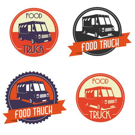 thực phẩm: Logo khác nhau của xe tải thực phẩm, các biểu tượng có một cái nhìn retro Hình minh hoạ