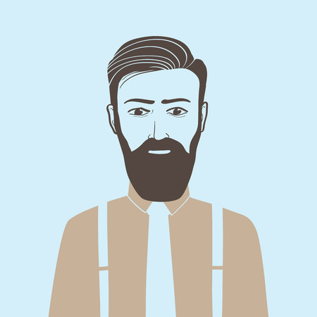handsome guy: Drawing a person hipster style on a blue background