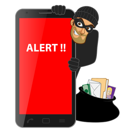 Hacker, is stealing information from a mobile phone