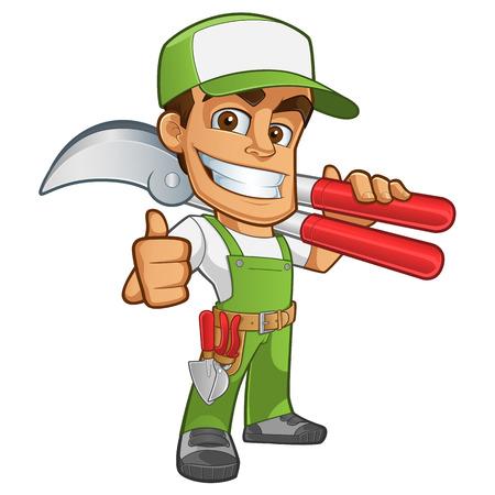 mantenimiento: Jardinero simpática vistiendo ropa de trabajo, que tiene en su mano una tijeras de podar