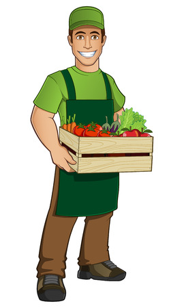Fruit seller with a box full of fruit and vegetables