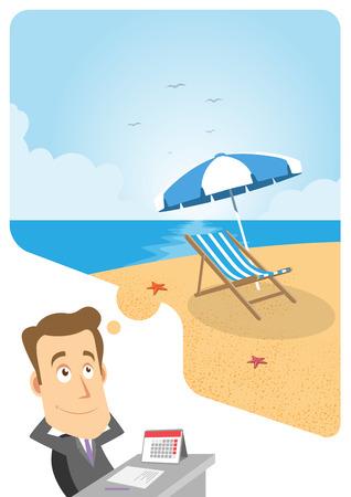 soñando: Hombre de negocios que está en la oficina y soñando con las vacaciones