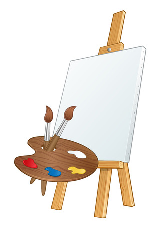 blank canvas: Painting easel with a blank canvas, also has a palette and brushes