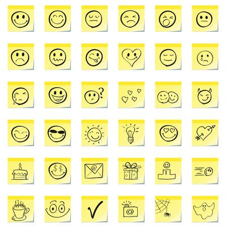 caras tristes: Emoticonos de grupo, se dibujan en una nota adhesiva