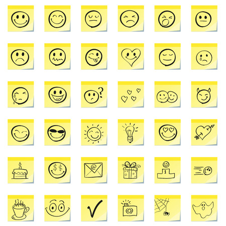 smiley icon: Group emoticons, are drawn on a sticky note Illustration