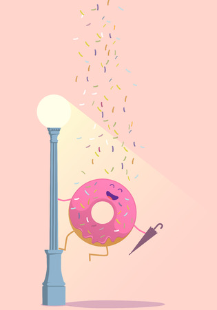 donut: Sympathetic donut, this donut on a lamppost with an umbrella