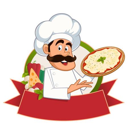 Italiaanse chef-kok met een pizza in de hand, vector