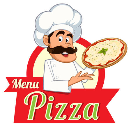italian chef: Italian chef with a pizza in hand, vector
