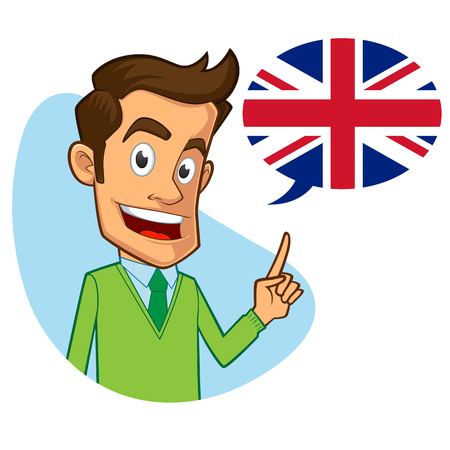 Sympathetic English teacher, he is pointing the flag