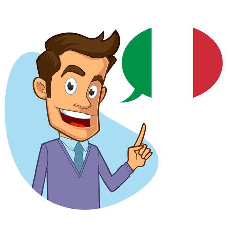 sympathetic: Sympathetic italian teacher, he is pointing the flag Illustration