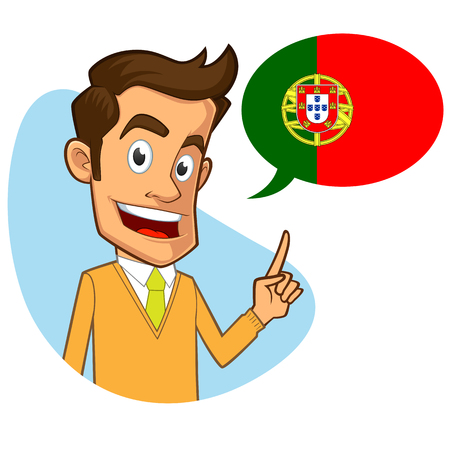 sympathetic: Sympathetic portuguese teacher, he is pointing the flag