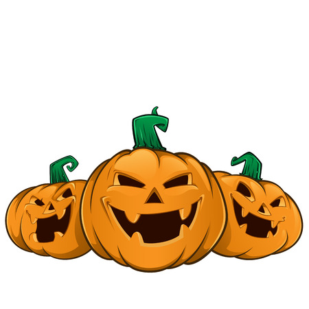 Three pumpkins with evil faces, these are used for Halloween 免版税图像 - 45067268