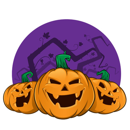 pumpkin face: Three pumpkins with evil faces, these are used for Halloween