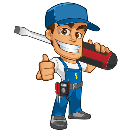 Sympathetic electrician, he will dress in work clothes and carrying different tools Imagens - 45334195
