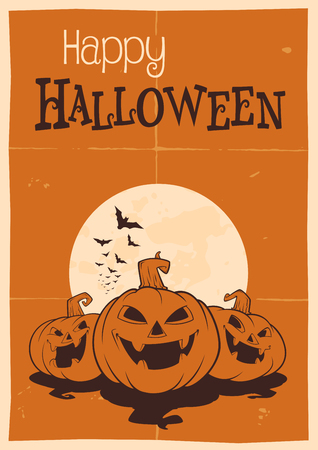 and has: Halloween poster has written Happy Halloween, and has three pumpkins